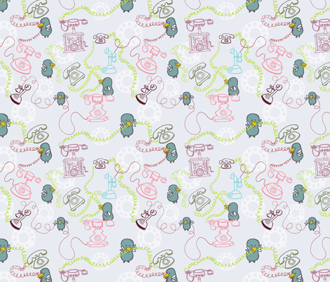 phone birds fabric by malloryn on Spoonflower - custom fabric