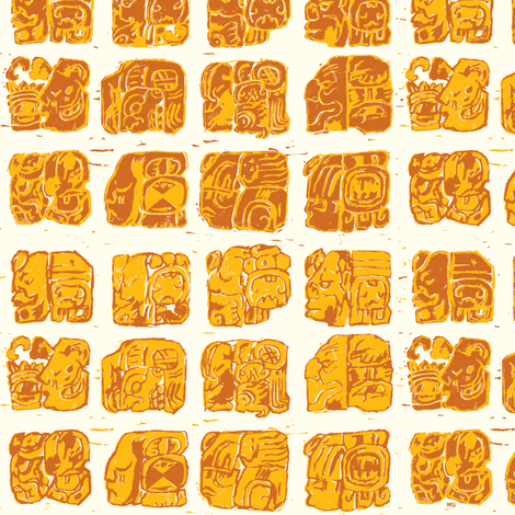 Palenque Glyphs 1a fabric by muhlenkott on Spoonflower - custom fabric