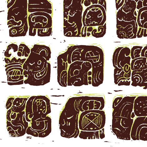 Palenque Glyphs 2a fabric by muhlenkott on Spoonflower - custom fabric