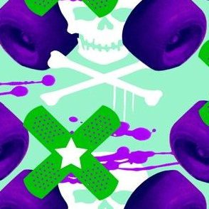 roller derby fabric purple/green