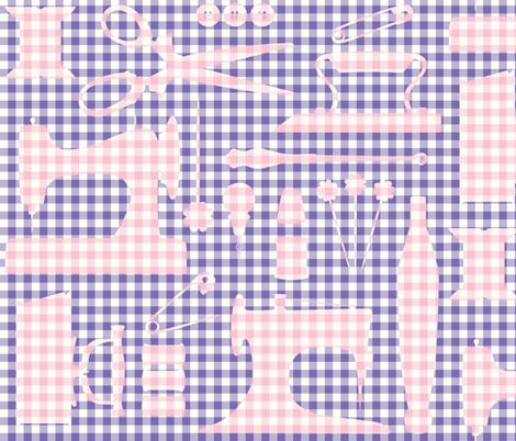 Good old sewing tools_PURPLE fabric by natasha_k_ on Spoonflower - custom fabric