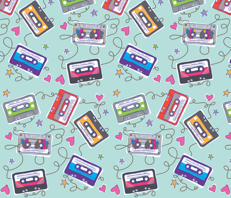 Mix Tapes  fabric by crissyrose on Spoonflower - custom fabric
