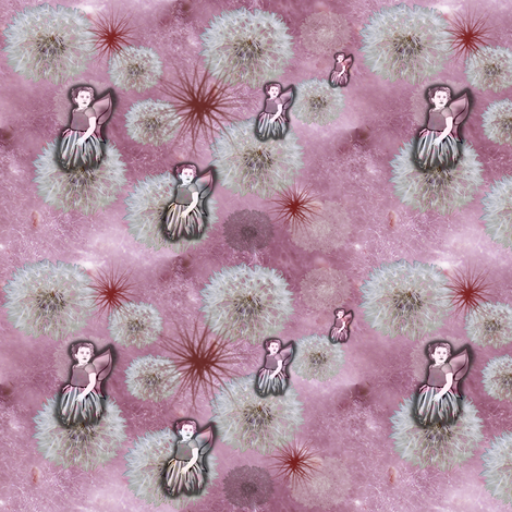Fluff and Fairy Puffs - with fairies fabric by upcyclepatch on Spoonflower - custom fabric
