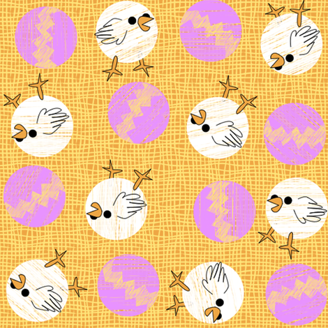easter_chicks_and_eggs_dots_2 fabric by glimmericks on Spoonflower - custom fabric