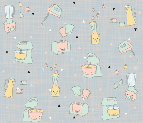 50s kitchen devices gone mad fabric by miss_honeybird on Spoonflower - custom fabric