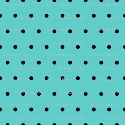 Polka black on mint