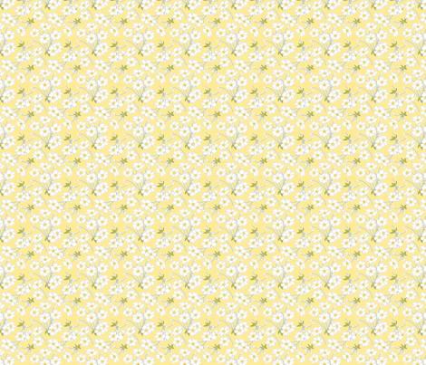 Japanese Anenomes in Yellow Ditsy Petite fabric by anntuck on Spoonflower - custom fabric