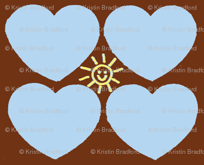 Hearts of Sunshine in Blue and Brown
