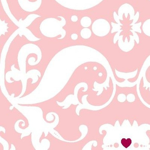 Damask with pink hearts white on light pink