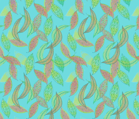 Watercolor leaves on blue  fabric by su_g on Spoonflower - custom fabric