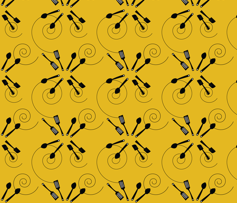 kitchen cooking on yellow fabric by hartlinedesigns on Spoonflower - custom fabric