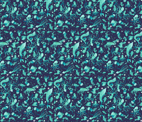 Sea Life Ditsy 2 fabric by jadegordon on Spoonflower - custom fabric