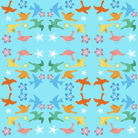 birds & flowers fabric by krs_expressions on Spoonflower - custom fabric