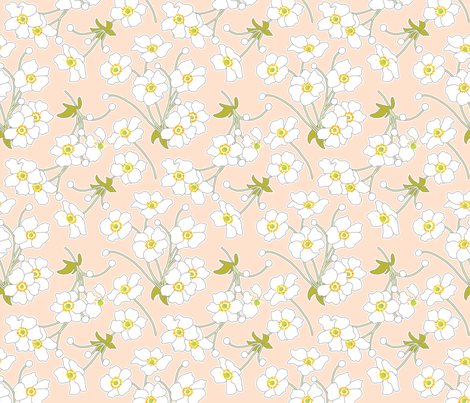 Japanese Anenomes in Pink fabric by anntuck on Spoonflower - custom fabric