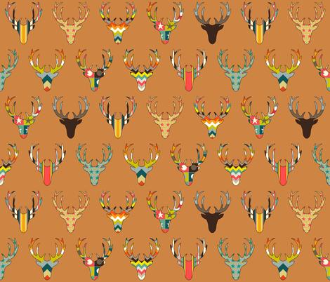 retro deer head copper fabric by scrummy on Spoonflower - custom fabric