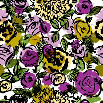 Vintage Floral in Violet