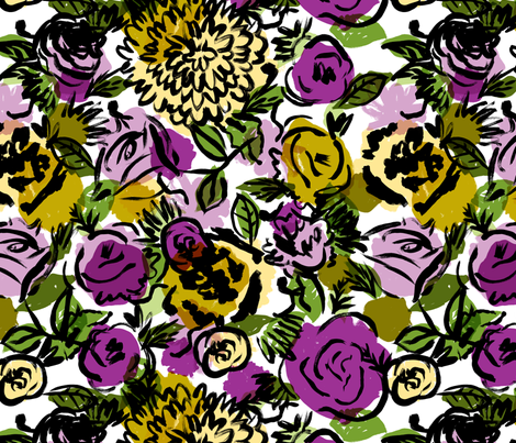 Vintage Floral in Violet fabric by red_velvet on Spoonflower - custom fabric