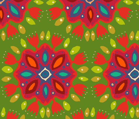 FLOR XL green fabric by scrummy on Spoonflower - custom fabric