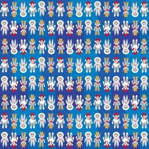 Sock Monkeys on Blue