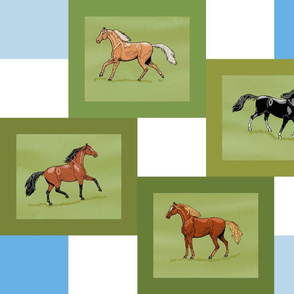 Horse 4 patch cheater quilt