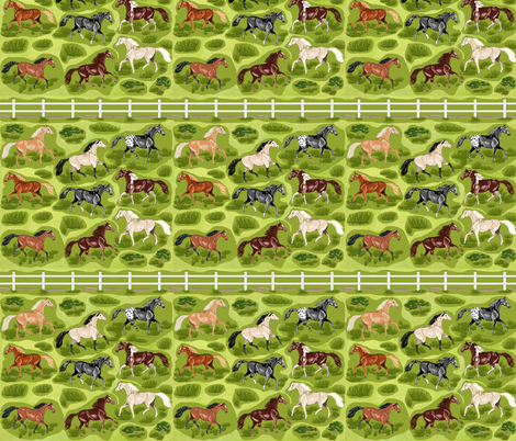 Horses with Fence Decals fabric by khowardquilts on Spoonflower - custom fabric