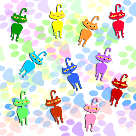 colorful kitties fabric by krs_expressions on Spoonflower - custom fabric