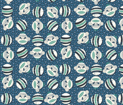 sockmonkey dots2 oceanic fabric by glimmericks on Spoonflower - custom fabric
