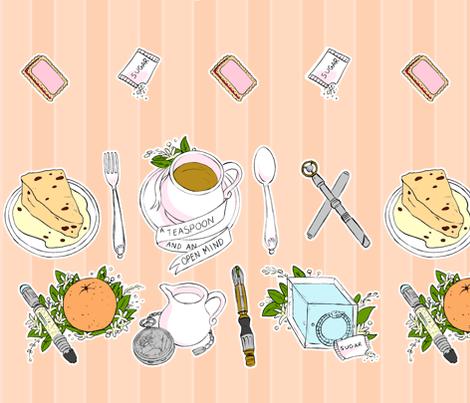 A Teaspoon and an Open Mind (Peach) fabric by aimee on Spoonflower - custom fabric