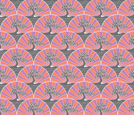 4-Colour Art Deco Tree fabric by phantomssiren on Spoonflower - custom fabric