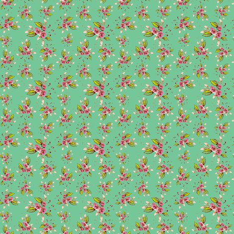 Parson's Roses pink on mint fabric by joanmclemore on Spoonflower - custom fabric