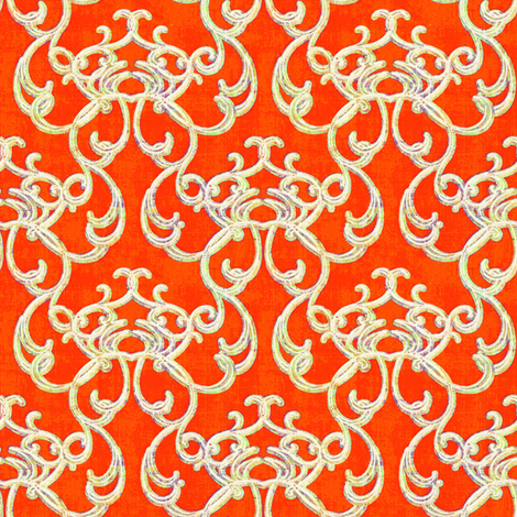 Damask Orange fabric by joanmclemore on Spoonflower - custom fabric