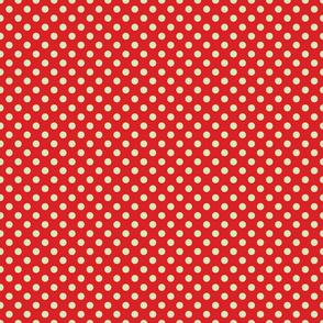 Red Orange with Light Blue Dots - Vintage