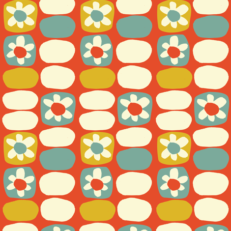 Flower Fancy-Red Yellow Blue  fabric by gsonge on Spoonflower - custom fabric