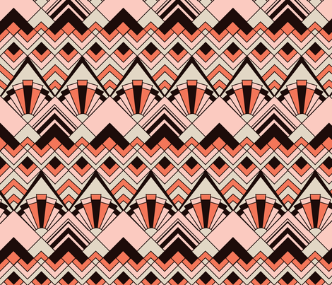 Pink Gold Art Deco fabric by wildnotions on Spoonflower - custom fabric
