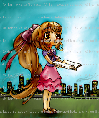 Cute-Long-Haired-Manga-Girl-In-A-Dress-Holding-A-Magical-Book-Open