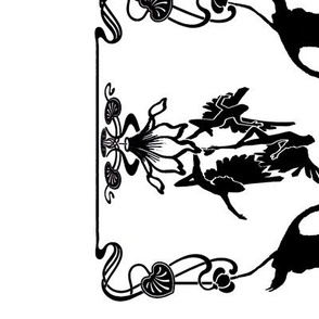 Art Nouveau B/W Border Print White