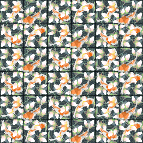 waterlily_koi_pond tiles fabric by glimmericks on Spoonflower - custom fabric