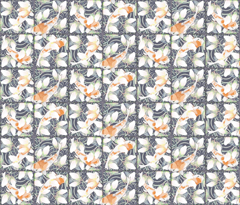 waterlily koi pond sketchy fabric by glimmericks on Spoonflower - custom fabric