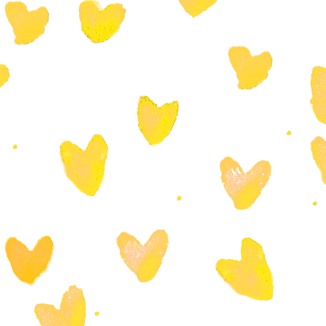 cestlaviv_yellow hearts on white fabric by cest_la_viv on Spoonflower - custom fabric