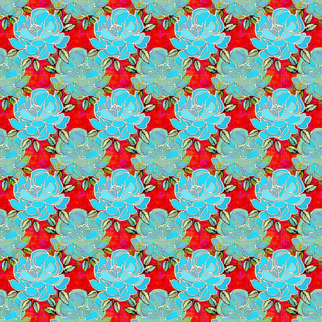 Little Bouquet in blue and red fabric by joanmclemore on Spoonflower - custom fabric