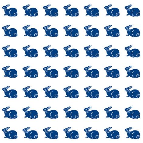 cute bunny dark blue on white fabric by bad_penny on Spoonflower - custom fabric