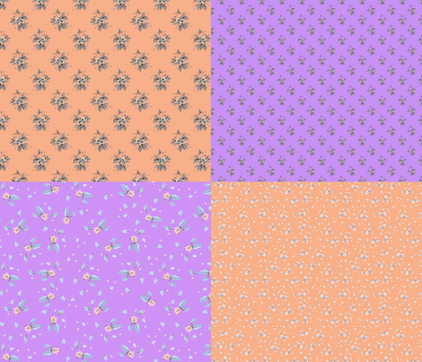 Roses coordinate fat quarter peach and purple fabric by joanmclemore on Spoonflower - custom fabric