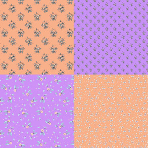 Roses coordinate fat quarter peach and purple