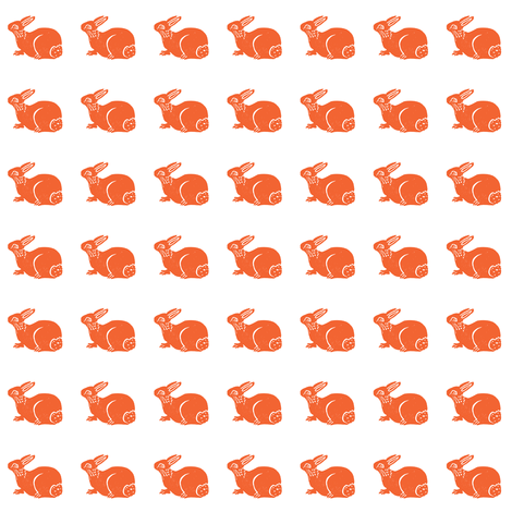 cute bunny tangerine on white fabric by bad_penny on Spoonflower - custom fabric