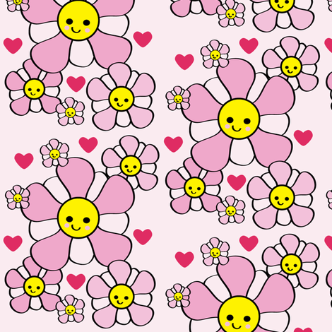 Chibi Blossoms fabric by kiwicuties on Spoonflower - custom fabric