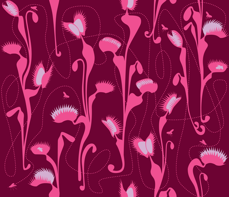 Art Nouveau, Venus fly trap - red fabric by walsh|studio on Spoonflower - custom fabric