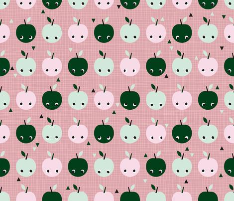 Apples in line fabric by miss_honeybird on Spoonflower - custom fabric