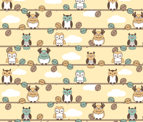 Retro Owls fabric by tiffanyillustrator on Spoonflower - custom fabric