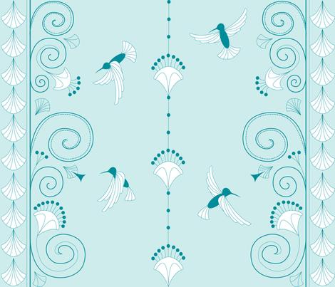 Art Deco, Humming Bird fabric by walsh|studio on Spoonflower - custom fabric