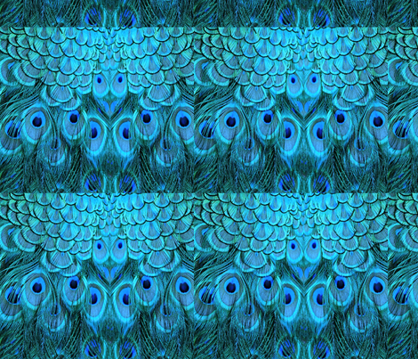 BLUE PEACOCK FEATHERS fabric by bluevelvet on Spoonflower - custom fabric